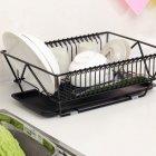 Kitchen Tableware Drain Bowl Rack Large Capacity Dish Drain Basket Black
