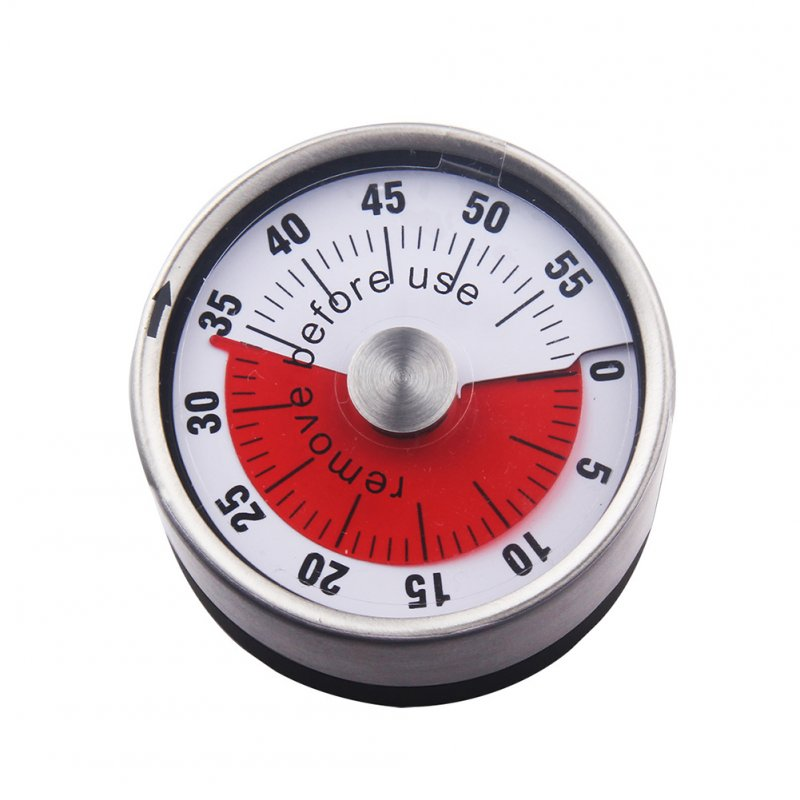Kitchen Timer Stainless Steel Mechanical Baking Learning Time Reminder Timer with Magnet white