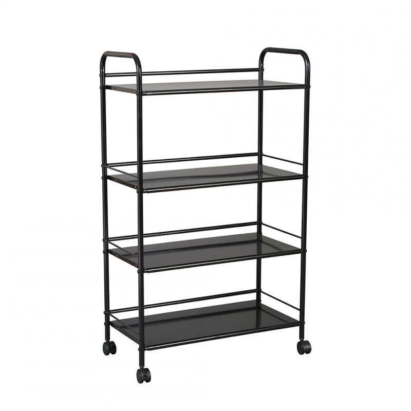 Kitchen Trolley Storage Shelf Floor Multi-layer Bedroom Bathroom Movable Snacks Shelf Cart white_Four layers