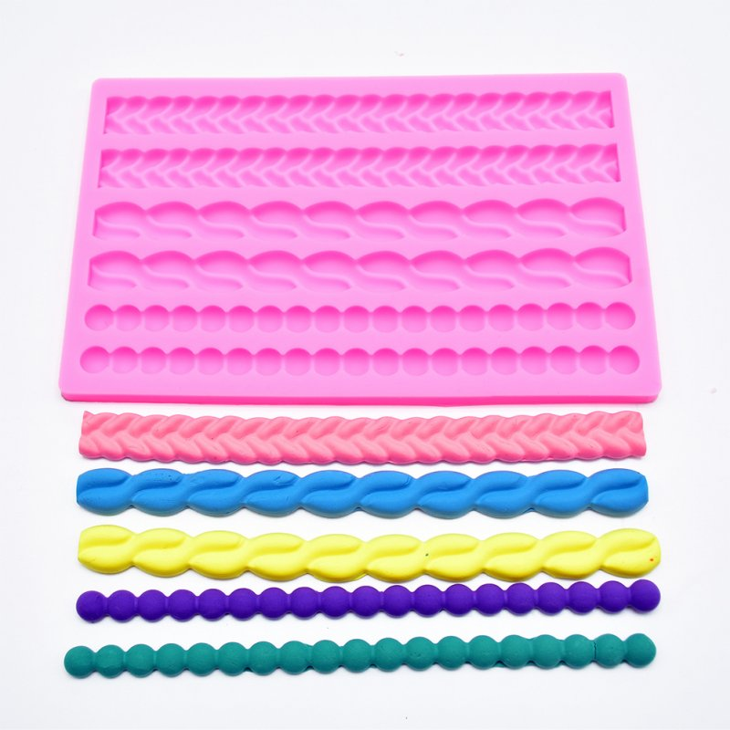 Knitting Texture Embossed Silicone Molds Fondant Cake Decorating Lace Mat Tool  Pink