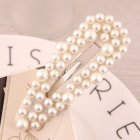 Korean Style Women Simple All-match Pearl Bead Metal Hair Clip