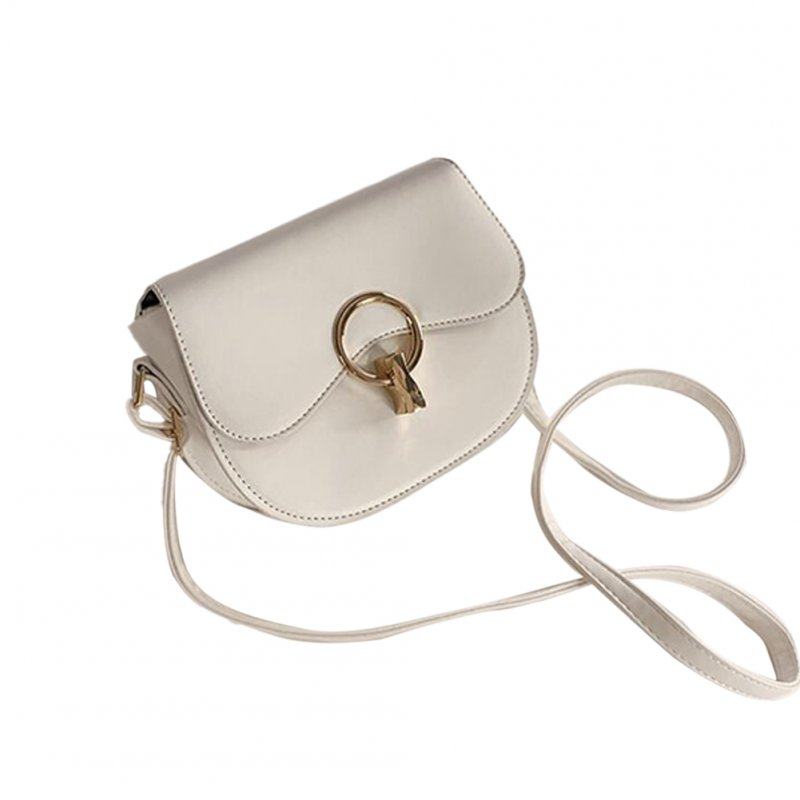 Korean Version Of The Wild Messenger Bag Fashion Hit Color Shoulder Saddle Bag white