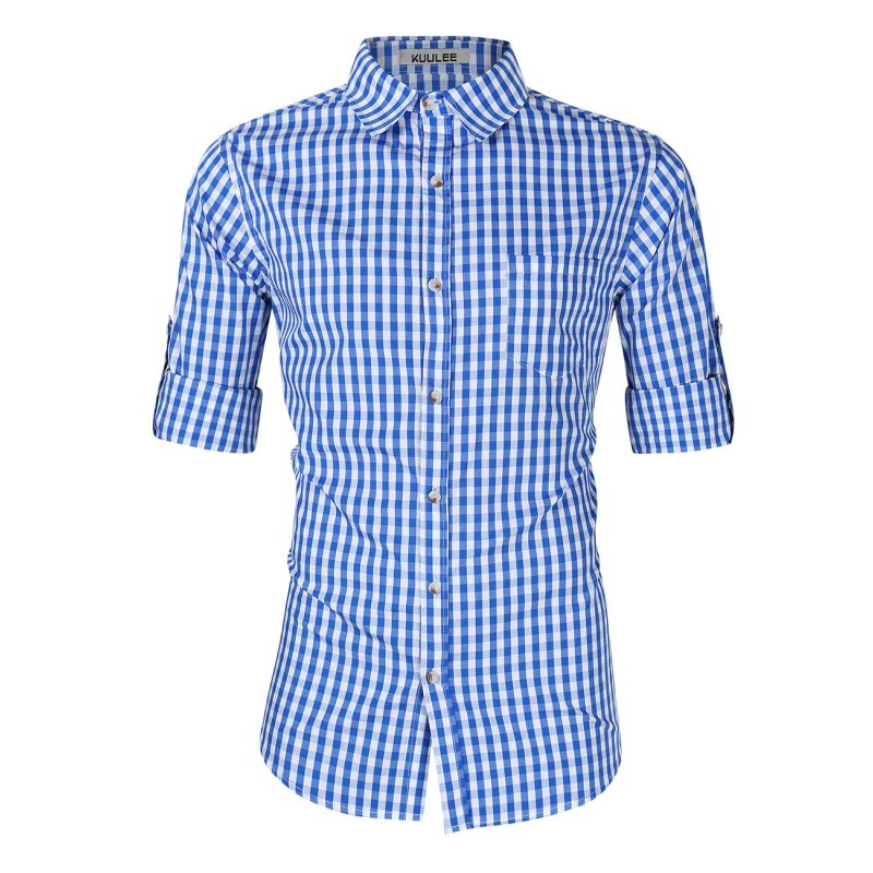 [EU Direct] Kuulee Men's Fashion Shirts for Beer Festival Plaid Button Down Long Sleeve Slim Fit Shirts