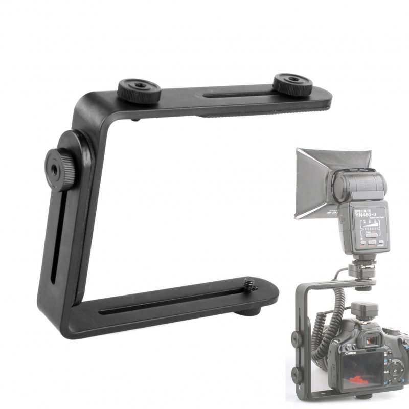 L-Shaped Double Metal Bracket Holder Mount for Canon Nikon Camera Speedlite Flash black