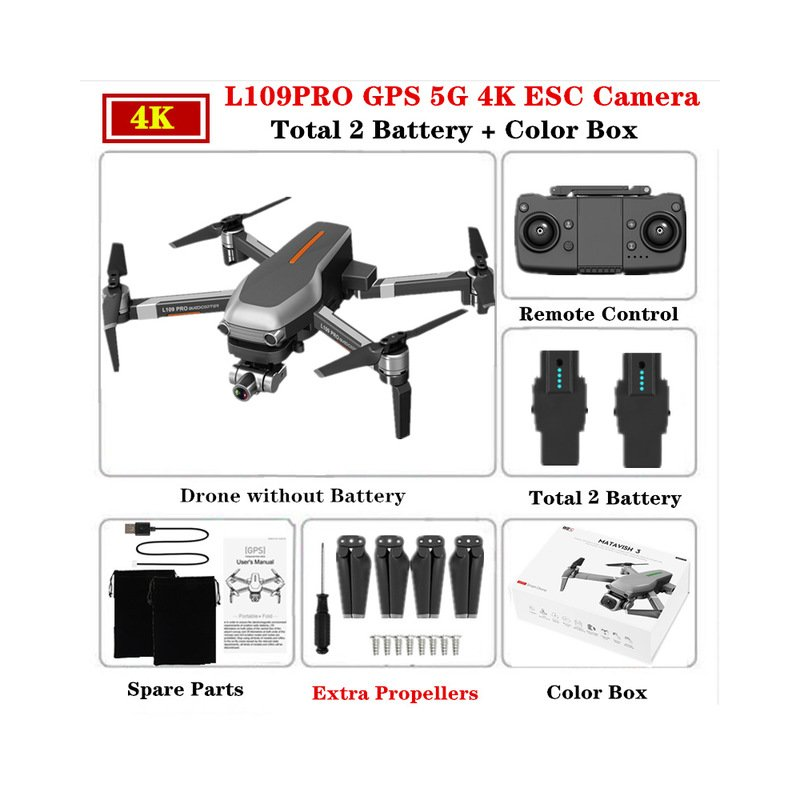 L109PRO GPS Drone 4K Quadcopter Mechanical Two-axis Anti-shake 5G WiFi FPV HD ESC Camera Brushless Helicopter 25mins Flight Time Dual battery_Color box