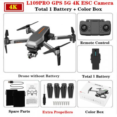 L109PRO GPS Drone 4K Quadcopter Mechanical Two-axis Anti-shake 5G WiFi FPV HD ESC Camera Brushless Helicopter 25mins Flight Time Single battery_Color box