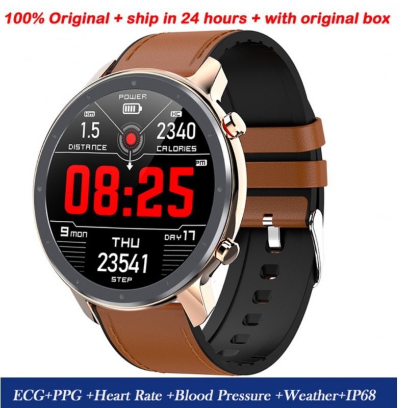 L11 Smart Bracelet Round Dial Touch Screen Sports Step Count Heart Rate Health Monitoring Watch IP68 Waterproof Gold