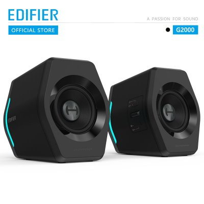 EDIFIER G2000 Gaming Speaker Wireless Bluetooth Music Player USB Sound Card AUX Input 16W RMS Power Output 2.75inch Full Range Unit black