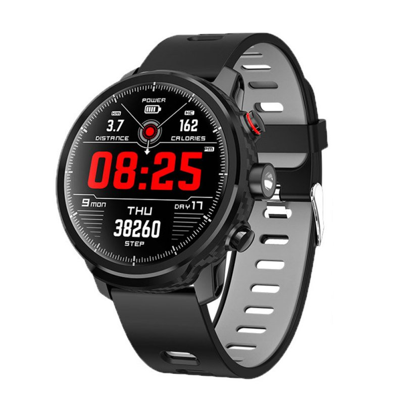 L5 Men Smart Watch IP68 Waterproof Multiple Sports Mode Heart Rate Weather Forecast Bluetooth Smartwatch Cool Bracelet Black strap