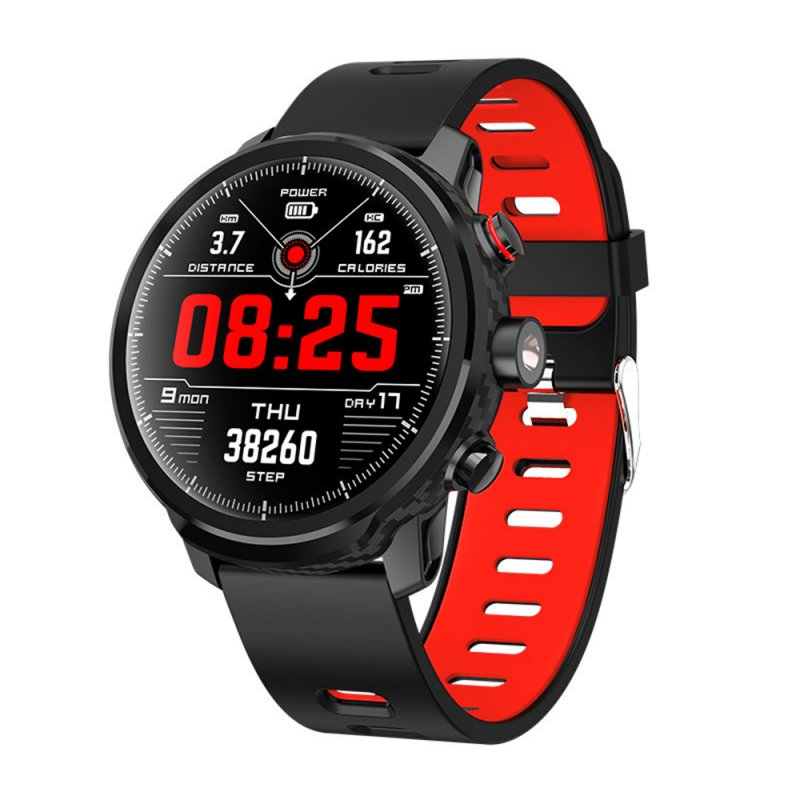 L5 Men Smart Watch IP68 Waterproof Multiple Sports Mode Heart Rate Weather Forecast Bluetooth Smartwatch Cool Bracelet Red strap