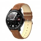 L9 Bracelet Full Round Screen Multi-Sport Heart Rate Sleep Monitoring Offline Payment Bracelet Brown leather belt
