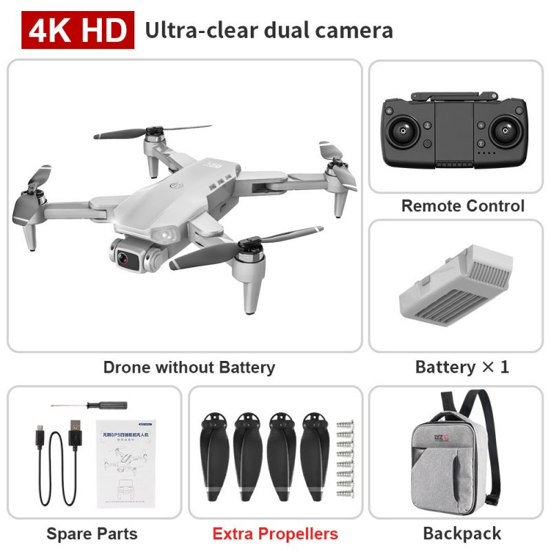 L900 RC Drone 4K 5G GPS WiFi FPV 4K HD Wide Angle Camera Foldable Altitude Hold Drone Quadcopter Profesional 28min 1km  gray