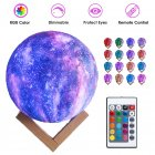 LED 3D Moon Kamp with Colored Drawing Surface Remote Control 16 Colors+Touch Function 10cm
