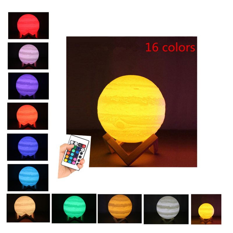 LED 3D Print Jupiter Shape 16 Colors Change Night Light with Remote Control Home Decor 8cm_Physical support