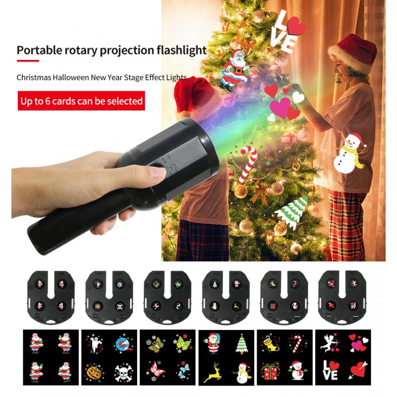 LED 6 Slide Cards Christmas Series Pattern Projector Light for Indoor Outdoor Garden Decor Flashlight projection lamp (including 6 film)