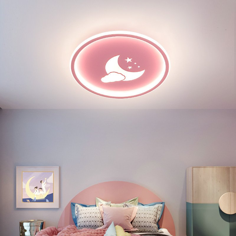 LED Cartoon Cloud Ceiling Lights for Boys Girls Kids Room Bedroom Decor 3 colors dimming_Pink[40*4.5CM]-36W