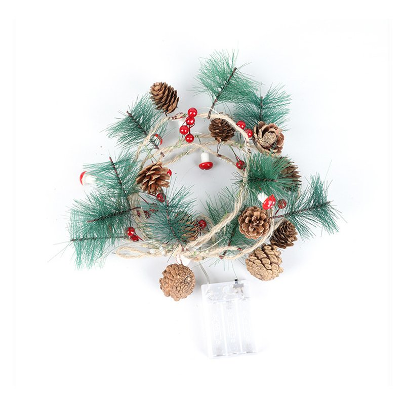 LED Christmas Tree Lamp String Pinecone Mushroom Shape Christmas Decoration Fairy Light Warm White_2m 20LED