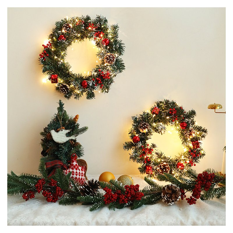 LED Christmas Wreath Light String Front Door Hanging Garland Holiday Home Decorations