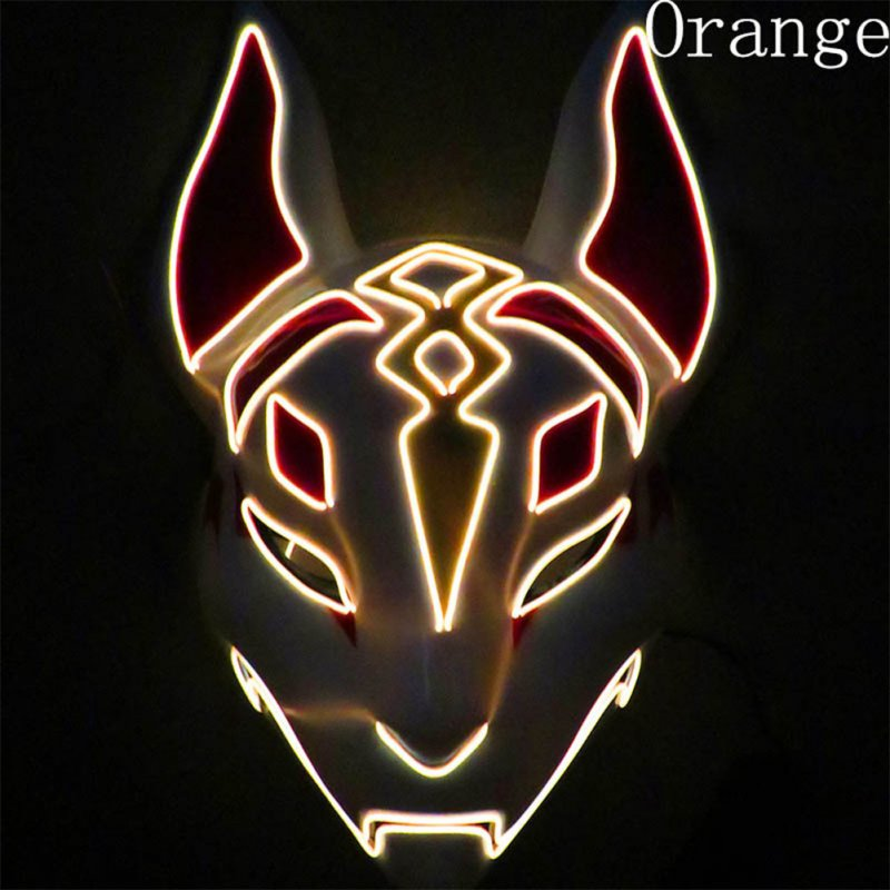 LED Cold Light Mask for Party Festive Christmas Halloween Costume Part Bar Dress Up  Standard mask orange