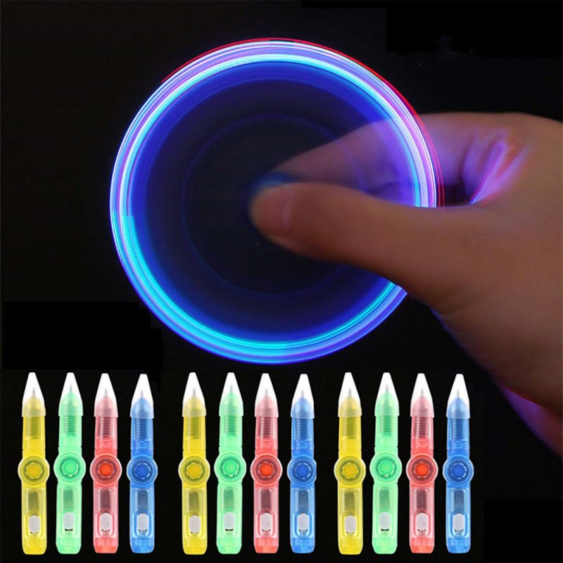 LED Colourful Luminous Spinning Pen Rolling Pen Ball Point Pen Learning Office Supplies Random Color  random color
