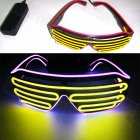 LED Double-color Luminous Glasses Light UP Shades Type Glasses Christmas Activities Wedding Birthday Party Decoration Pink frame + yellow glass