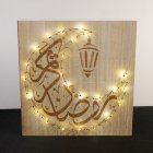 LED Eid Wood Pendant Ramadan Mubarak Decor for Home Holiday Party Square wall hanging moon