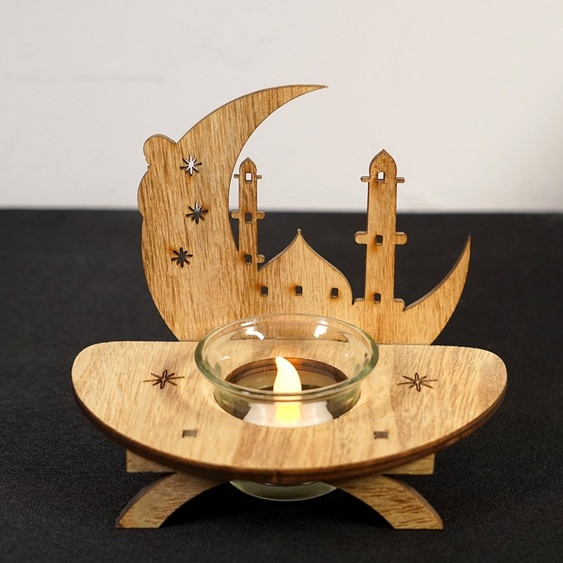 LED Eid Wood Pendant Ramadan Mubarak Decor for Home Holiday Party Moon candlestick decoration