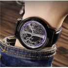 LED Fashion Men Women Waterproof Sports Wrist Watch with Leather Band Black S