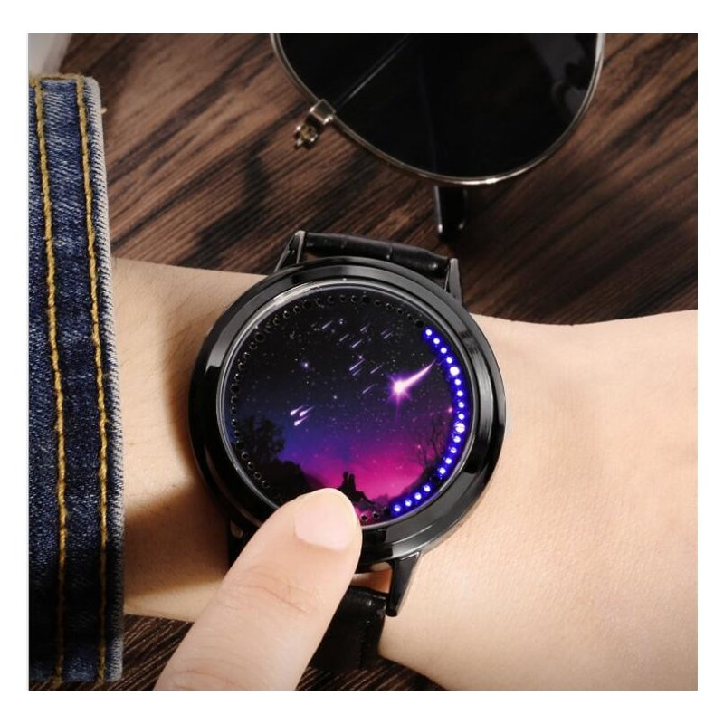 LED Fashion Men Women Waterproof Sports Wrist Watch with Leather Band L