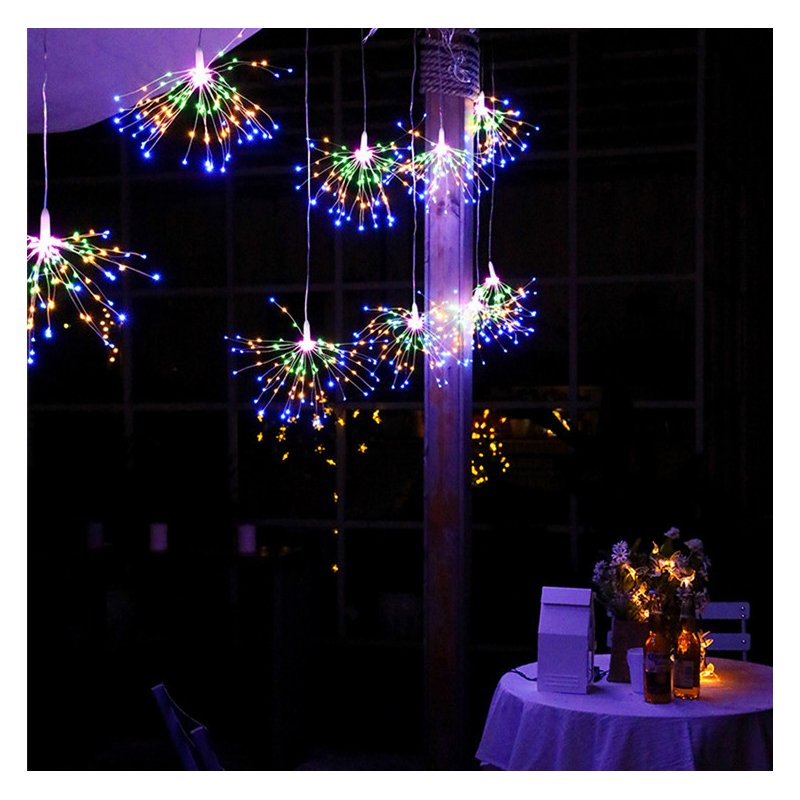 LED Fireworks Shape Solar String lights or Garden Decoration Copper Wire color_40 200LEDs