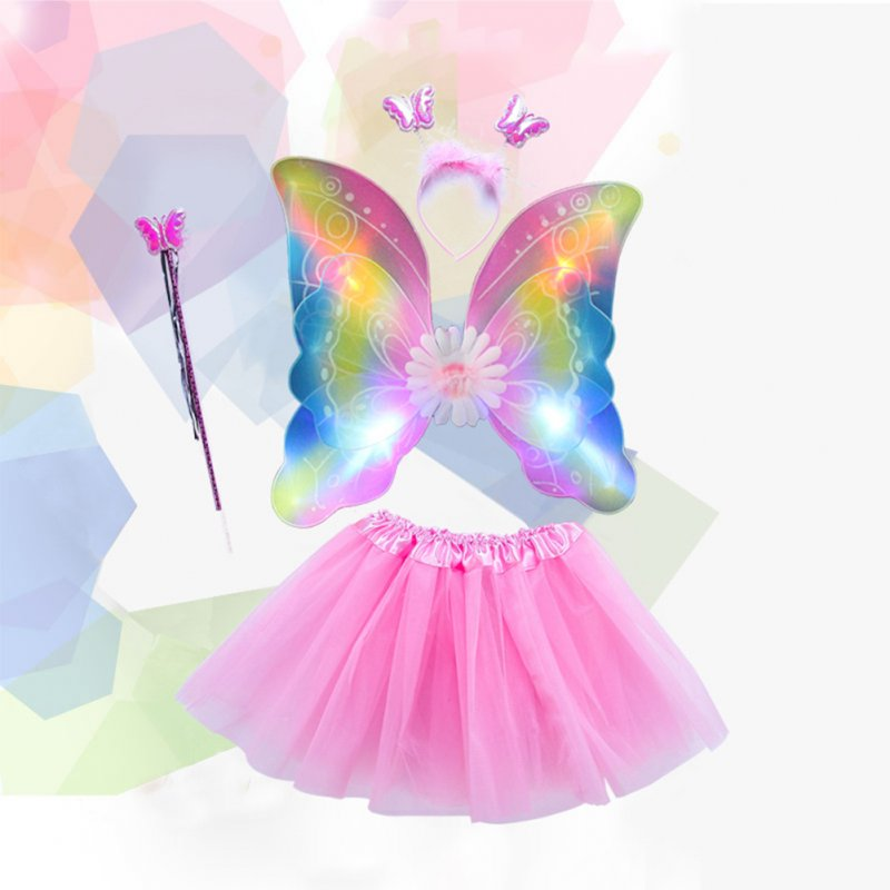 LED Flashing Butterfly Wings Clothes Children Show Costumes Angel Wings Set Pink