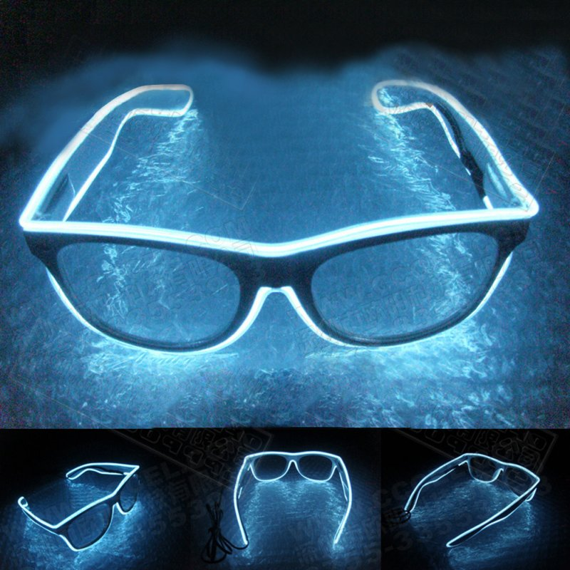 LED Flashing EL Luminous Glasses Party Decorative Lighting Classic Gift Bright Prop Light Up Party Glasses Party Decor white