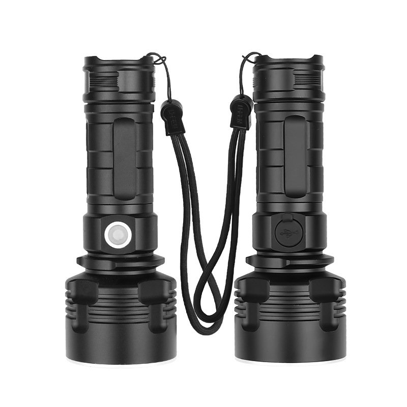 LED Flashlight XHP50 Torch USB Rechargeable Bright Outdoor Flash Light 1475-XHP50 bulb + USB cable
