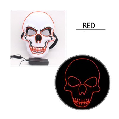 LED Halloween Scary Glow Skeleton Mask Cosplay Party Costume Supplies red