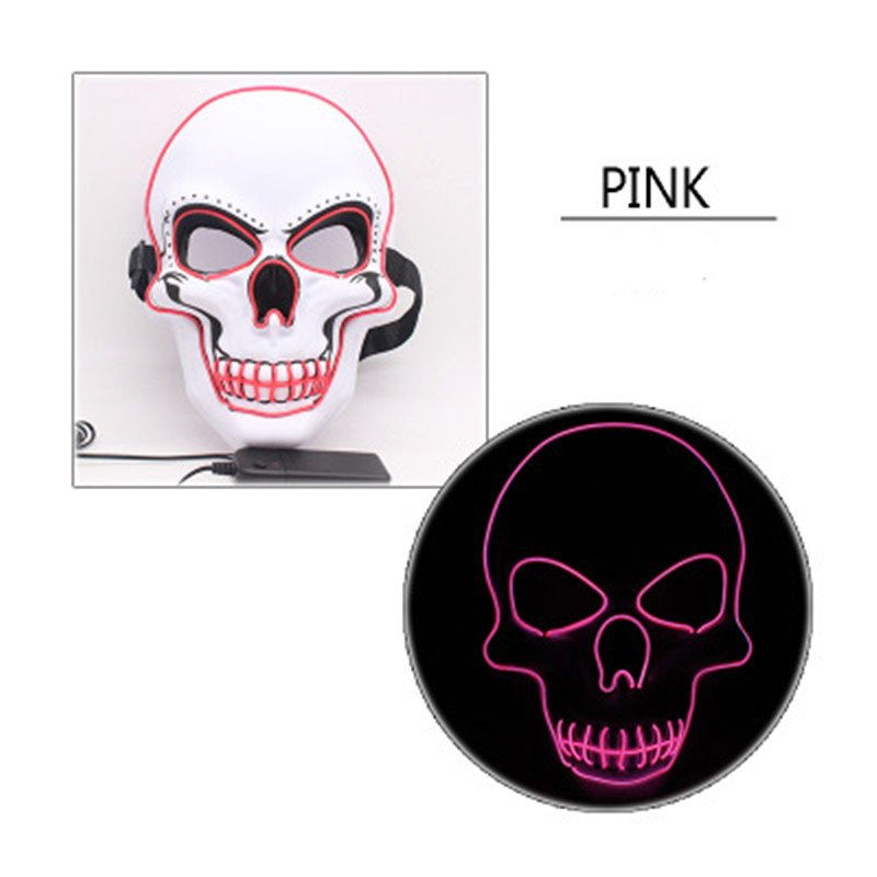 LED Halloween Scary Glow Skeleton Mask Cosplay Party Costume Supplies Pink