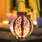LED Hanging Solar Lanterns with Handle Outdoor Garden Lights Decoration Bronze