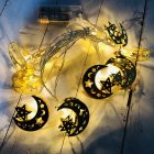 LED Iron Art Light Strings Muslim Ramadan Festival Star Moon Shape Decoration Hang Pendant Warm White
