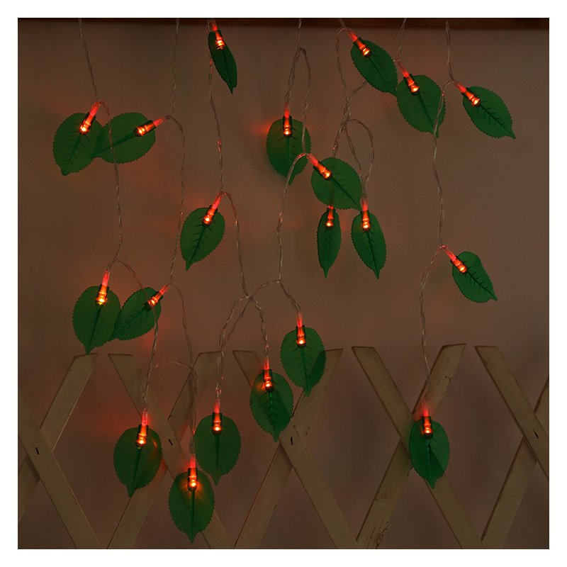 LED Leaves Shape String Light for Indoor Battery Box Powered Decoration red