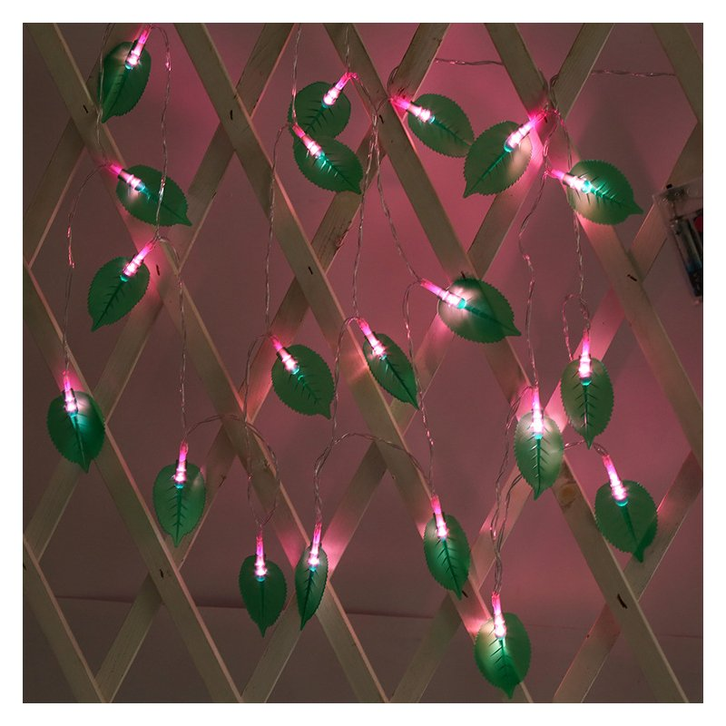 LED Leaves Shape String Light for Indoor Battery Box Powered Decoration Pink