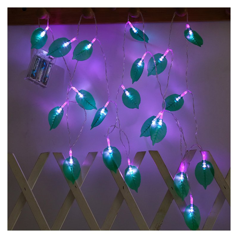 LED Leaves Shape String Light for Indoor Battery Box Powered Decoration purple