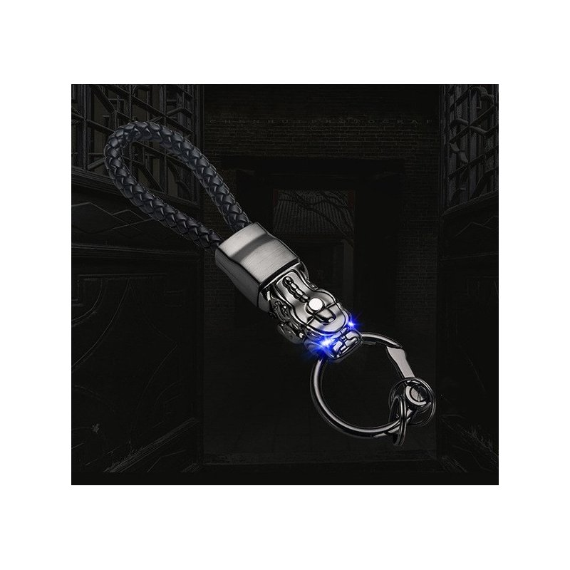 LED Light Chinese Brave Troops Model Keychain Key Holder Car Key Ring Chain Automobile Car Styling Car Accessories Black brushed + black rope