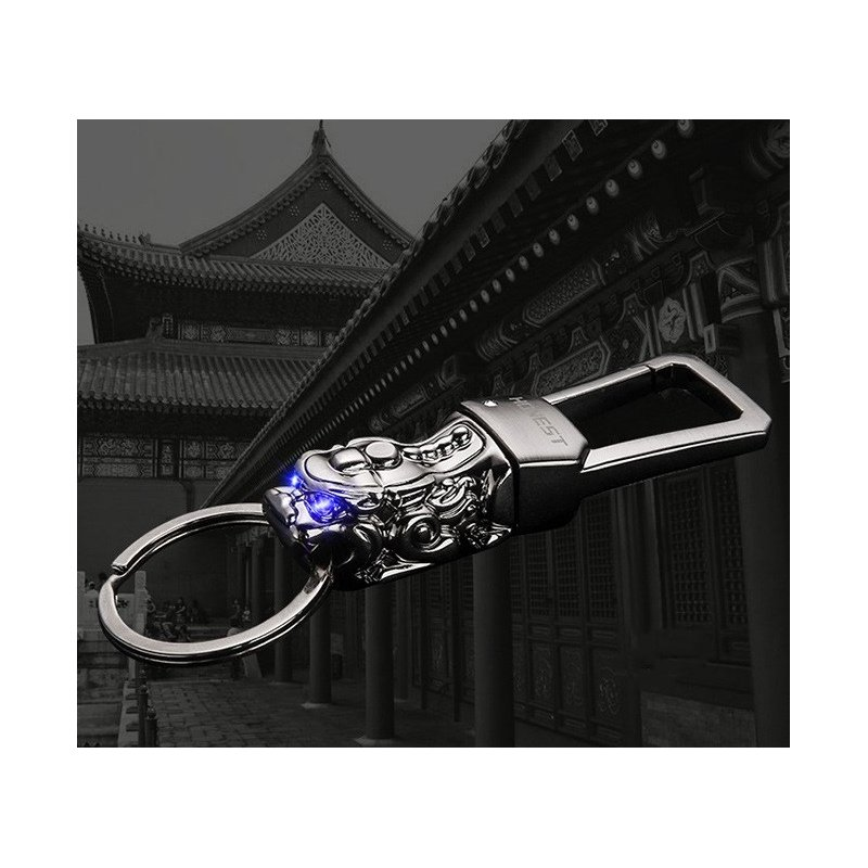 LED Light Chinese Brave Troop Model Car Keychain Key Ring Automobiles Car Styling Buckle White nickel