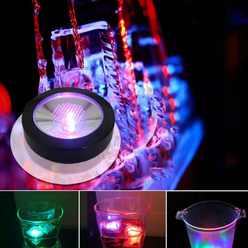 LED Light Coaster Bar KTV Cocktail Mat Round Shaped Colorful Light Base Gravity Induction Coaster Black shell colorful battery (shipped without battery)_Round