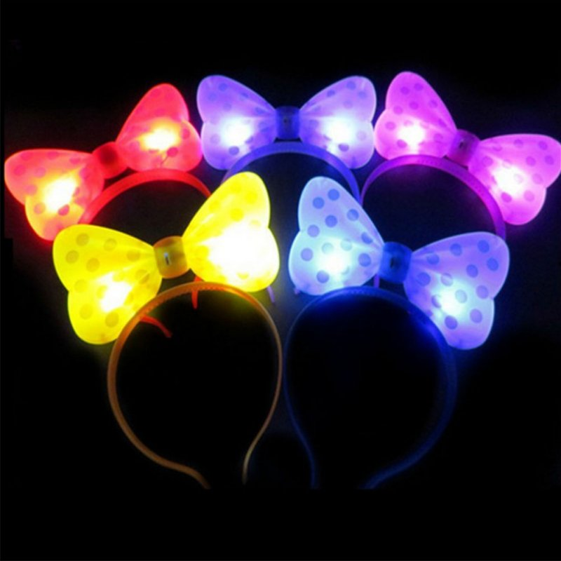 LED Light Up Toy Glow in the Dark Party Supplies Party Favors for Kids  Bow headband 20pcs