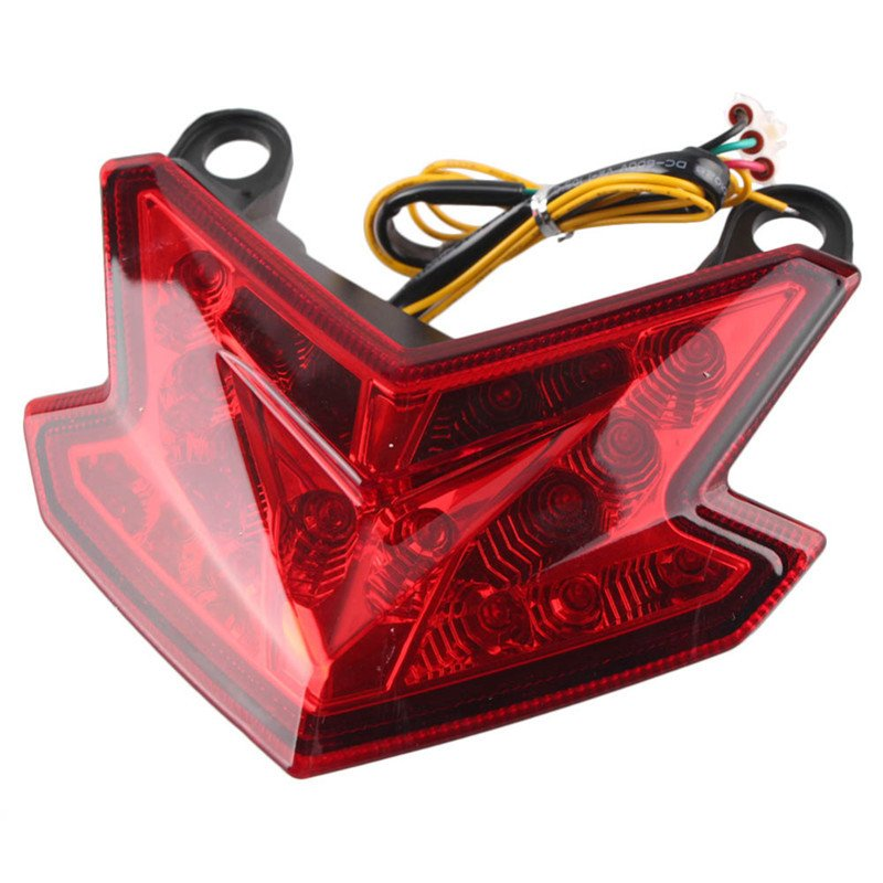 LED Lights Motorcycle Tail Light Turn Signal Lights Rear Brake Taillight for Kawasaki Z800 13-16 Integrated Lights red
