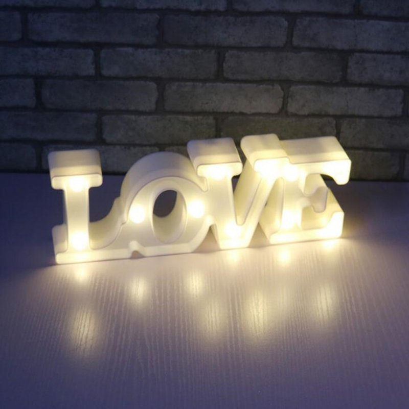 LED Love Letter Shape Night Light for Home Tabletop Decoration
