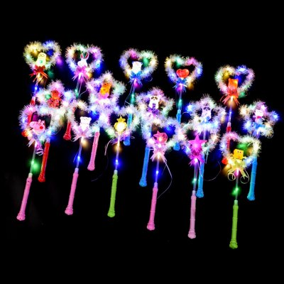 LED Luminous Heart Star Shape Glow Stick Magic Wand Toy for Party
