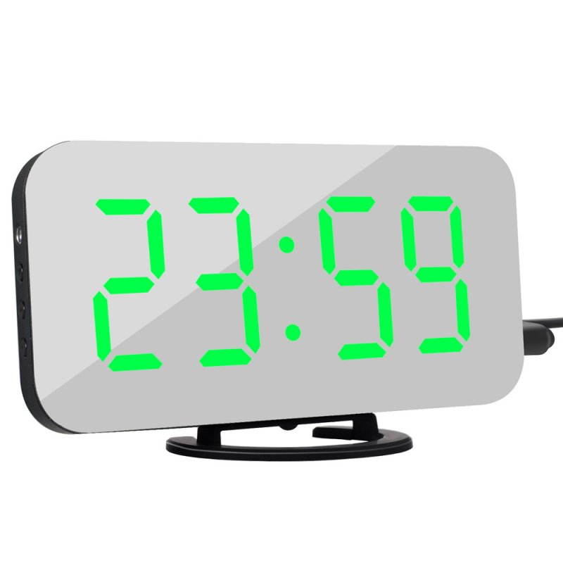 LED Mirror Electronic Alarm Clock Mini Cosmetic Mirror Bedside Clock with Black Shell Green light