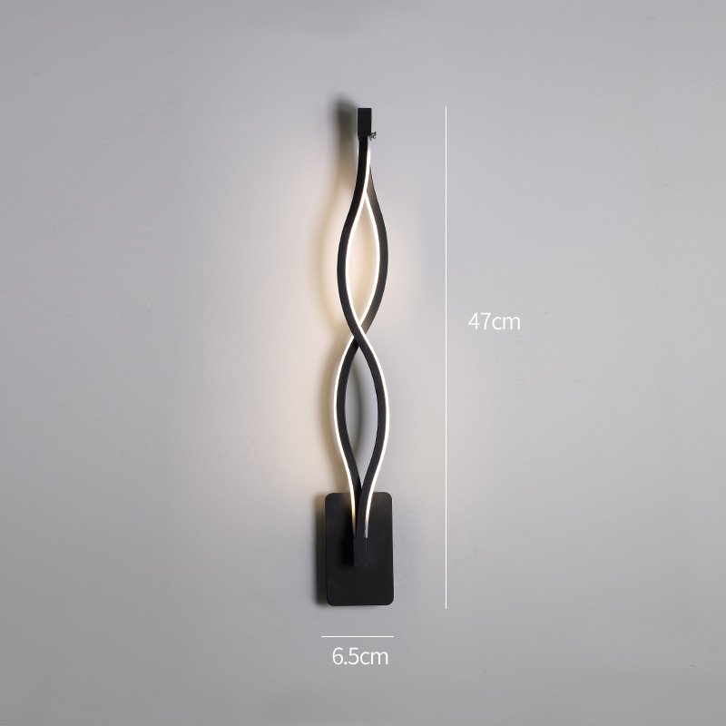 LED Nordic Style Wall Lamp for Living Room Bedroom Bedside Lighting Decoration C black-white light_monochromatic light