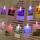 LED Photo Clip String Lights with Battery Box Night Lamp Hanging Pendant Festivals Garden Party Yard Decoration